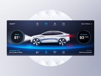 Car Dashboard interface car automotive 3d