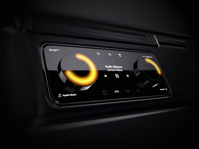 Car Dashboard Physical Crowns interior physical player music glow crown 3d dashboad car automotive ui