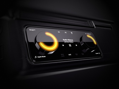 Car Dashboard Physical Crowns interior physical player music glow crown 3d dashboad car automotive ui