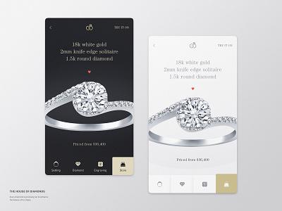 Engage Rings Shop diamond shop ring app mobile ui