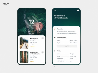 Travel App Concept green mapping mobile map cards travel uiux ui