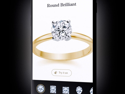 Engagement Rings App by Fantasy iphone visualization ui  ux product motion grid wizard application animation 3d app mobile ui