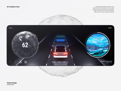 Car Cluster Concept trapcode speed widget navigation blender 3d animation motion flexible ai dashboard cluster car ui