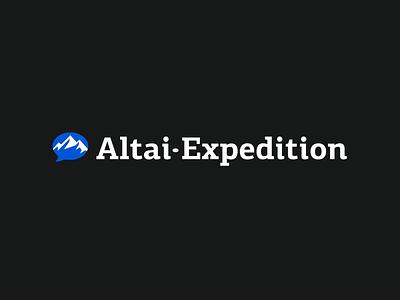 Horizontal version of the logo of the Altai Expedition dialogue message logos branding and identity brandidentity brand design branding design mountain logo logo design logodesign typography symbol branding logotype logo