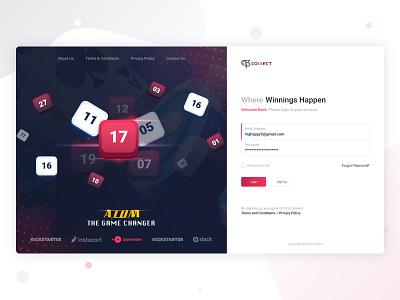 RNG : Login Page lottery keno dashboard bet web design analytics login web ui ux ui