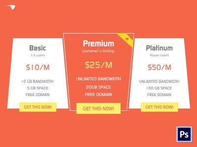 Plans and pricing Table pricing table psd freebie