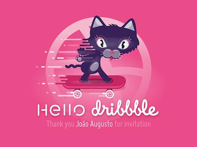 Hello dribbble illustration skating skateboarding kitty nenette dribbble skate chat cat invitation invit hello