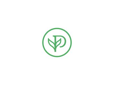 Plant + P logos minimal mark letter leaf plant