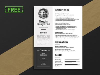 Free Resume Template freebie resume design cv template cv design design adobe photoshop adobe illustrator