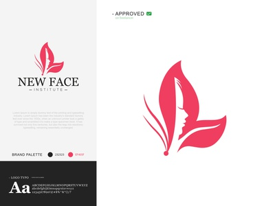 Institute gray pink institute leaf face logo adobe photoshop adobe illustrator