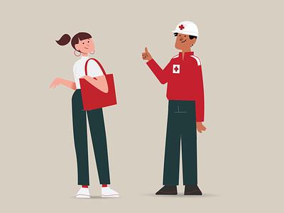 Red Cross volunteers illustration