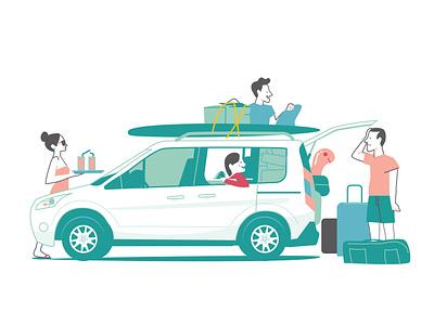 getting ready illustration car holiday