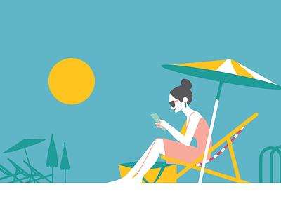 reading illustration summer swimmingpool