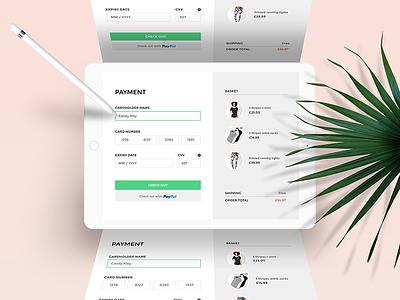 Payment ecommerce ui design ui details green modern mockup credit card checkout ipad payment app design app