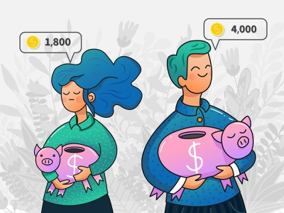 Wage Gap income discrimination economy savings career business social issue inequality guy girl flat piggybank pay gender equality salary gap wage creative illustration vector