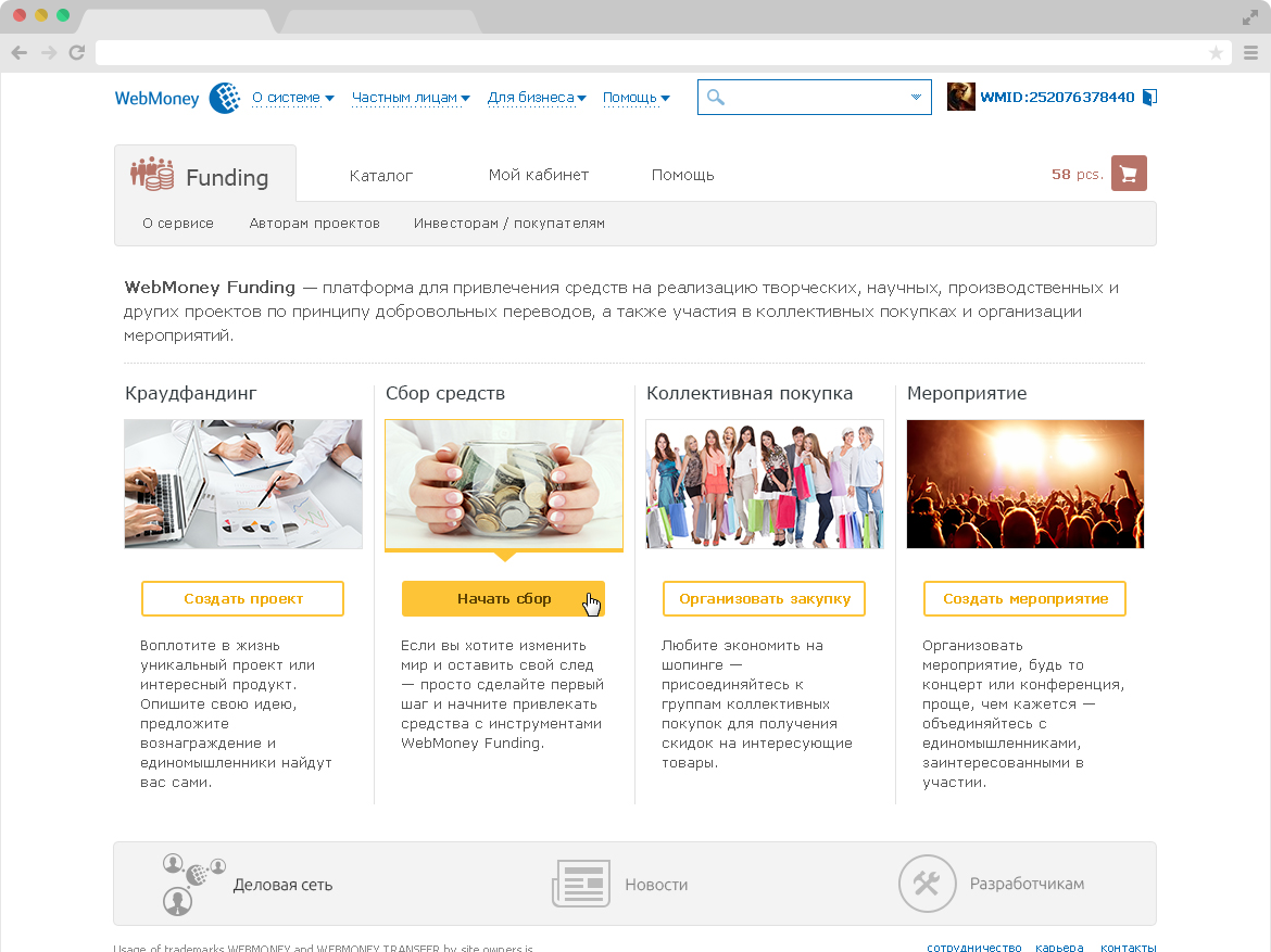 Crowfunding WebMoney webdesign design
