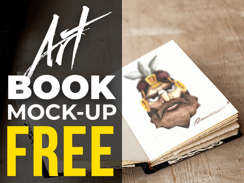 FREE - Art Book Realistic Mock-up realistic artbook notebook freemockup mockup mock-up free-mock-up free