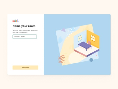 Name Your Room work remote texture art texture digital design create create room sign up onboarding uxdesign branding graphic design name your room name room product design uidesign uxui uxuidesign illustration design illustration