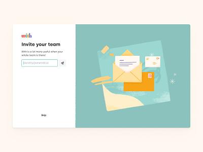 Invite Your Team ui design team invite team signup letters illustration graphic design branding email invitation invite product design uxui design design