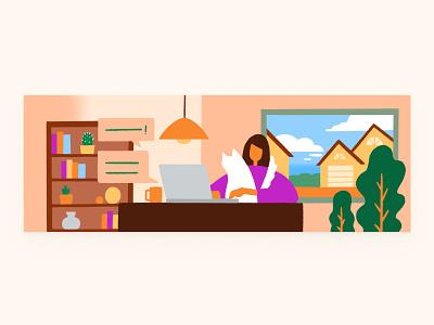 Blog Illustration on Work Remote graphic design blog design working from home remote working work remote blog illustration