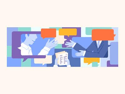 Blog Illustration about an Interview conversation blog design blog article work from home remote working work remote interview editorial art illustration art blog cover blog editorial illustration illustration