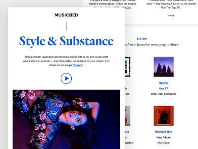 Musicbed Newsletter - Style & Substance web film typography newsletter design email design email newsletter filmmaker music