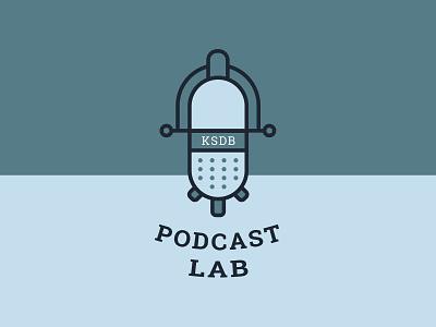 Podcast Lab Logo award winning microscope microphone blue branding logo podcasting radio podcast