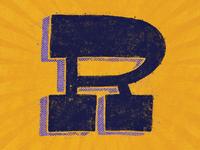 """Distressed Slab Serif """"R"""""""