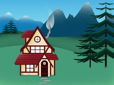 Mountain Cottage photoshop vector illustrator house landscape illustration illustration cottage home landscape mountain