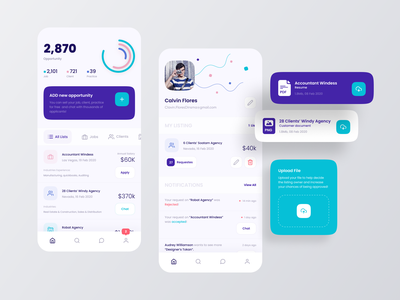CPA App app branding typography vector ux ui minimal clean creative dashboad mobile app product design profile list business chart job board app design application
