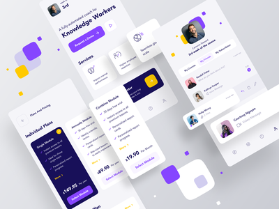 HC (Human Compass) Interface purple yellow human psychology typogaphy ux mobile app icon profile list chat pricing clean app design design app