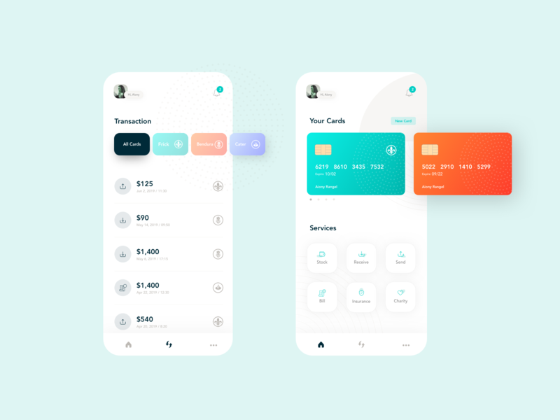 Mobile Bank - Application mobile color gradient light icon minimal design transaction money bank app finance expense crm clean app ux ui app bank accounting account