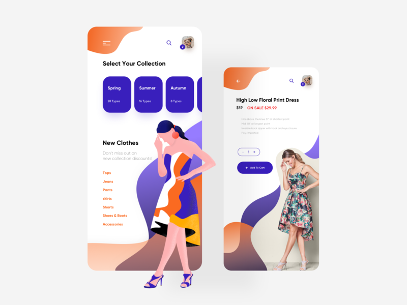 Interface Design - Uniqo App interface branding clean minimal woman dress application e-commerce shopping clothes illustration app design ux design ui design ux ui app