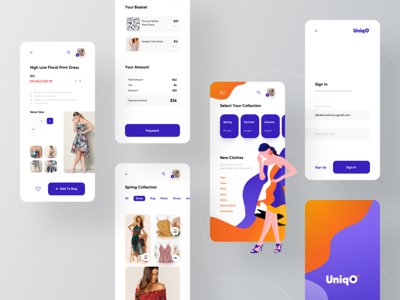 Uniqo eCommerce ui design ux design ux ui shopping minimal interface illustration e-commerce dress clothes clean branding application app design app