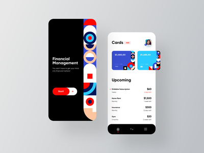 Financial Interface typography clean minimal bank payment card mobile app design design pattern color fintech interface application app financial ux ui