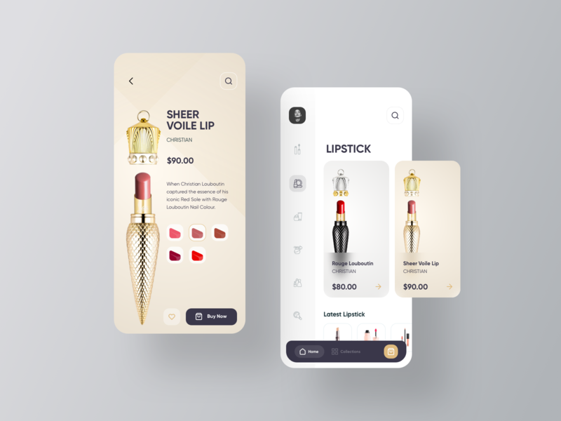Cosmetics eCommerce ux ui shopping mobile minimal luxury e-commerce cosmetics app