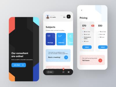 Online Consultation - User App typography minimal ux pricing consultant ui card consultation app
