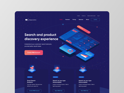 Searchin website - Search service isometric vector light minimal clean design typography illustration ux ui dark