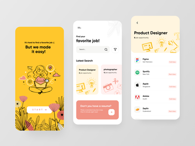 JobHere App doodle search branding minimal clean typography illustraion job design ui ux app