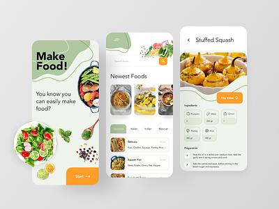 Foodway App green illustration food vector application app design ui ux