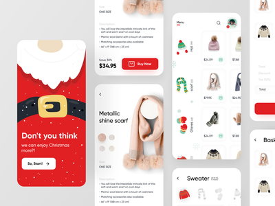 Mynoel eCommerce app design typography clothes ux ui illustration design winter christmas shopping ecommerce application app