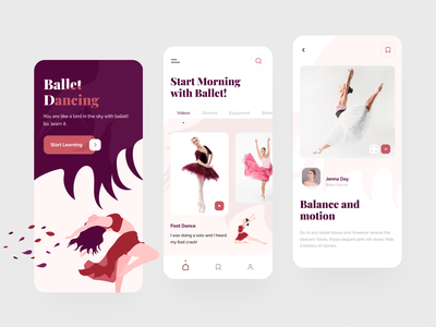 Balletta App ui dance design typography illustration vector app