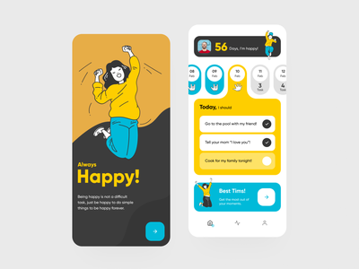 Happyline minimal app design app illustration typography vector ux ui