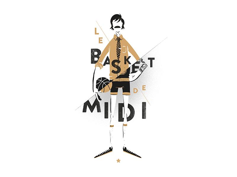 Le Basket Du Midi mustache illustration poster league basket