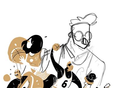 Basket2Midi mustache googles dribble dunk shoot illustration basket