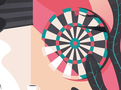 Darts target coffee illustration office darts