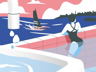 Saint Malo 2018 wishes city boat pool illustration