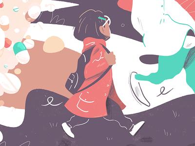 Girl walking rainy medecine girl