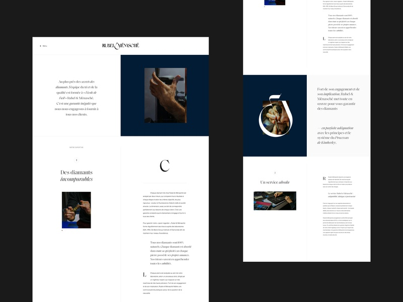 Rubel & Menasché premium luxury magazine diamonds clean editorial grid layout minimal typography