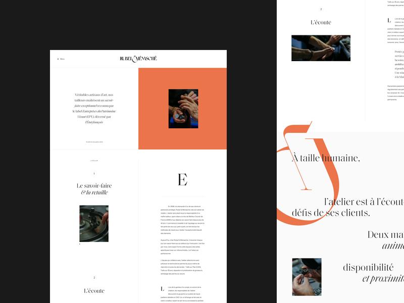 Rubel & Ménasché ui premium magazine clean luxury editorial grid layout minimal typography
